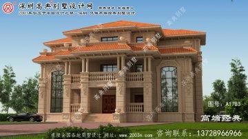 欧洲三层石材复式别墅设计图,大