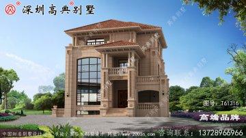 三层别墅设计图,奢华大气,主体造价