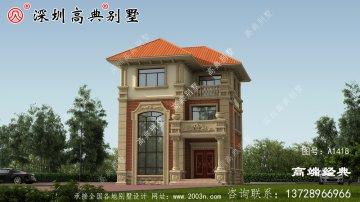乡村三层别墅设计图片,大气实用,接地